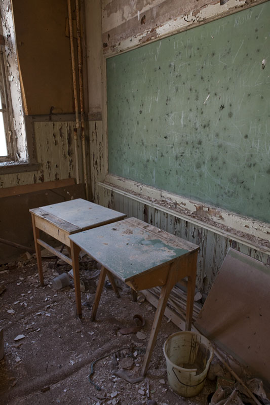 The old school desks