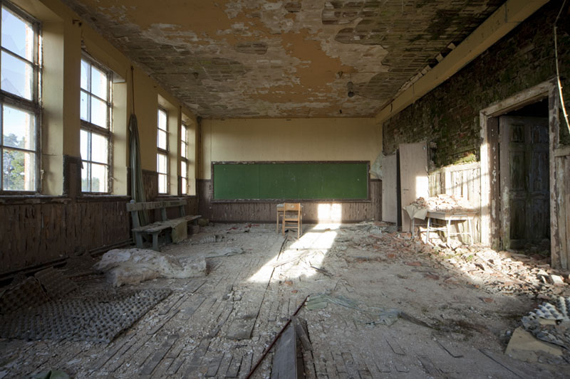The old school classroom back