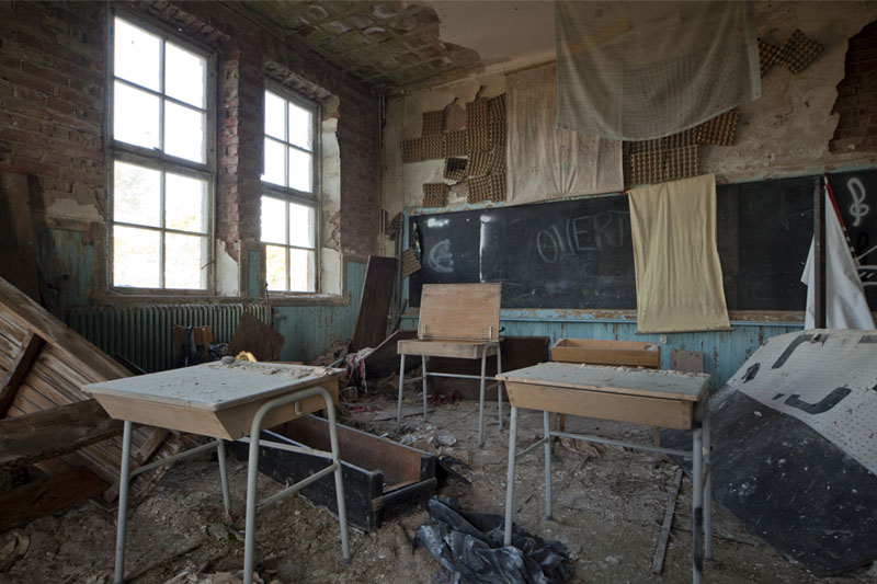 The old school messy classroom